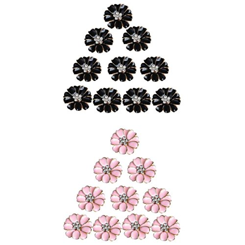 MagiDeal 20 Pieces Metal Pink and Black Enamel Rhinestone Crystal Flower DIY Embellishment Flatback Buttons 32mm for Wedding Card Phone Case Decorative Hair Bow Craft ()