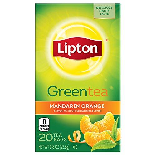 Lipton Green Tea Bags, Mandarin Orange, 20 Count (Pack of (Orange 20 Bag)