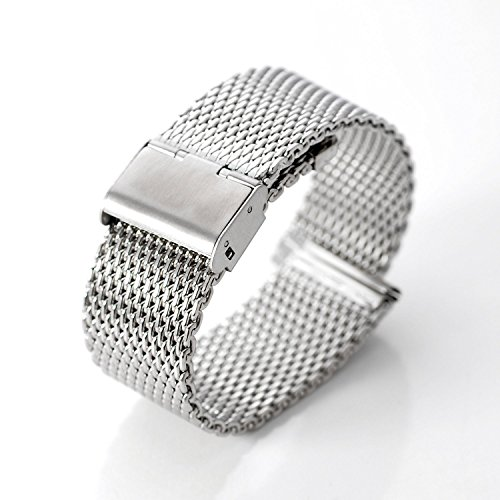 DHMXDC Stainless Steel Mesh Strap, 22mm for Motorola Moto 360 and Lg G Watch - Silver