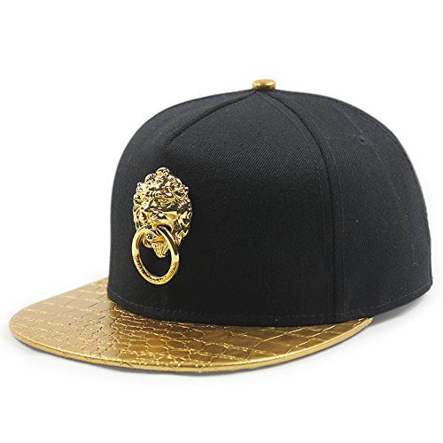 Animal Lion Head Embroidered Adjustable Flat Bill Hat (Leather Patch, Gold) -