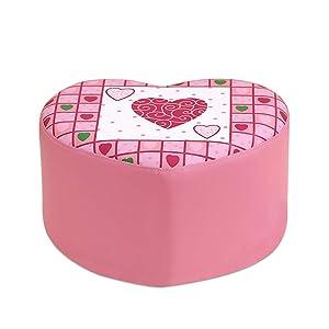 ZHZHPSFD Simple Modern Sofa Bench Children's Stool Cute Shoes Bench Pink Princess Stool Soft Bag Small Sofa Stool Cartoon Love Stool