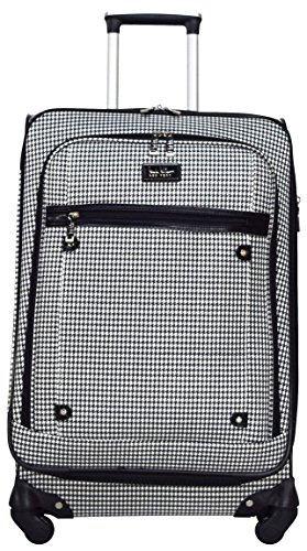 Nicole Miller New York Taylor 24'' Expandable Spinner Suitcase (Black/White Plaid) by Nicole Miller New York (Image #1)