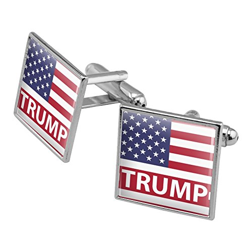 President Trump American Flag Square Cufflink Set Silver Color