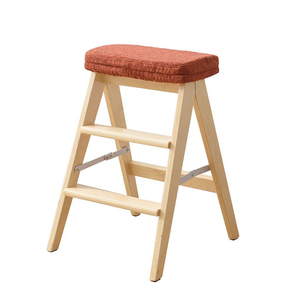 WSSF- ソリッドウッド折りたたみステップラダースツールポータブル家庭用多機能キッチン高いベンチ踏み台スツールウッドカラー、高さ64cm (色 : #6) B07DL6XC9D #6 #6