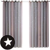 Waroomss - Cortinas de Estrellas Perforadas, degradadas, Cortinas