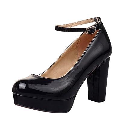 a43bbe6b664 Latasa Women s Cute Ankle-Strap Platform Chunky High-Heel Dress Pumps Shoes  (4.5