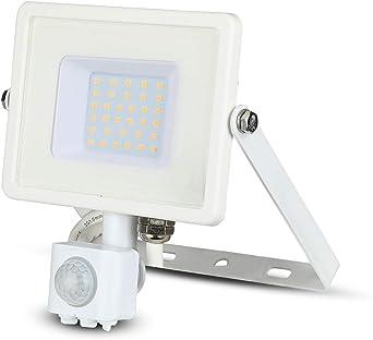 Luz Sensor de Movimiento LED Exterior Impermeable V-TAC 30W con LED Samsung Cuerpo Blanco Vidrio Blanco Impermeabilidad IP65 6400K Blanco 2550 Lúmenes: Amazon.es: Iluminación