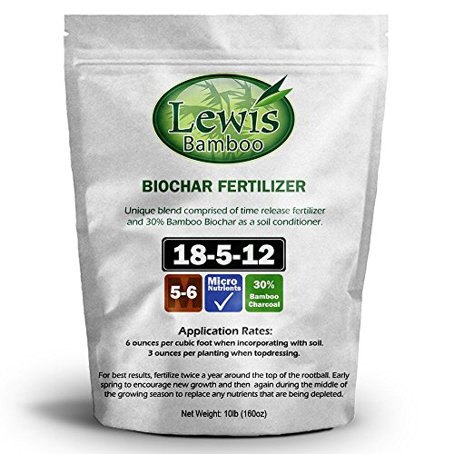 Lewis Bamboo - Biochar Fertilizer 18-5-12 (10 LB Bag) - Time Release Fertilizer with Charcoal