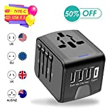 Agedate USB Universal Travel Adapter, International Travel Adapter, High Speed 3.4A Type-C, 4 USB Wall Charger, European Travel Adapter Wall Charger for US, EU, UK, AU Covers 220+Countries