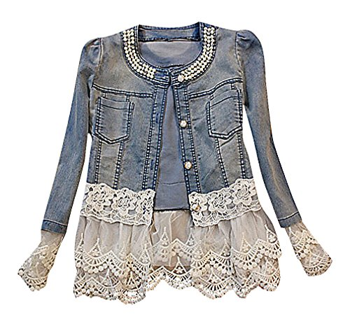 Maze, Women's Light Blue Mid Wash Tiered White Lace Mesh Applique Denim Jacket, Blue XL ,Manufacturer(XXL) (Lace Blue Light Jacket)
