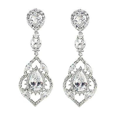 SELOVO Wedding Teardrop Dangle Earrings Silver Tone Vintage Chandelier Earrings Zircon