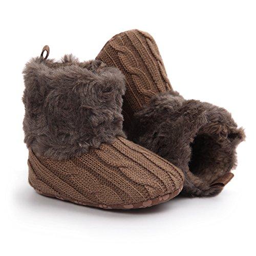 Zapatos para bebé de 0-18 meses, Auxma Snowboots Soft Crib Shoes Botas para niños pequeños Marrón