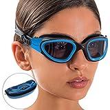 AqtivAqua Swim Goggles Case Wide View Swimming Goggles for Adult Men Women Youth Child (Blue/Black Color)