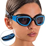 AqtivAqua Swim Goggles Case Wide View Swimming Goggles for Adult Men Women Youth Child (Blue/Black Color)