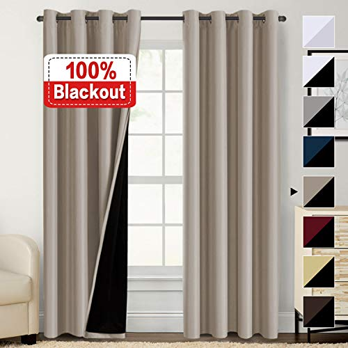 Flamingo P Full Blackout Curtains Faux Silk Satin with Black Liner Thermal Insulated Window Treatment Panels, Grommet Top (52