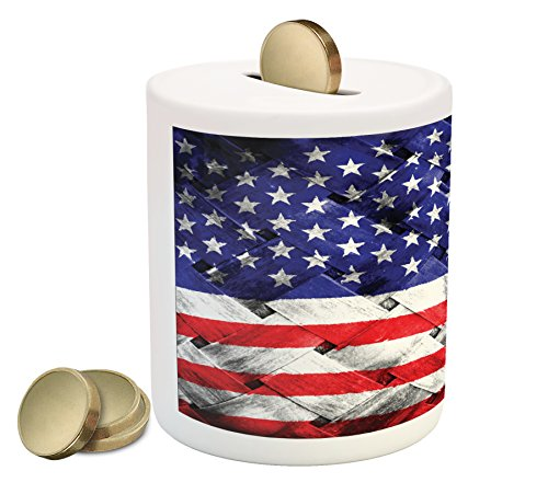 USA Piggy Bank by Ambesonne, Fourth of July Independence Day Thatch Rattan Rippled Weave Bamboo Graphic Art, Printed Ceramic Coin Bank Money Box for Cash Saving, Navy Blue Red White (Rattan Bank)