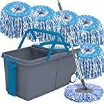 Primeway® Pw981Mn Advanced Twin Bucket Mop with 2 Big Wheels and Auto Fold Pull Handle with 6 Microfibre 130g Refills…