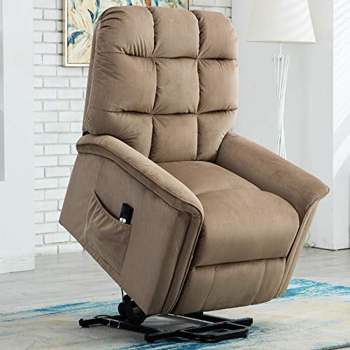 CANMOV Power Lift Recliner Chair for Elderly- Heavy Duty and Safety Motion Reclining Mechanism-Antiskid Fabric Sofa Living Room Chair with Overstuffed Design, Mocha