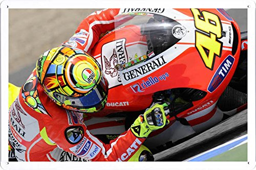 Valentino Rossi Ducati Bike Motogp World Championship Metal Plate Tin Sign Poster Wall D¨¦cor (8x12 inches) By Jake Box -