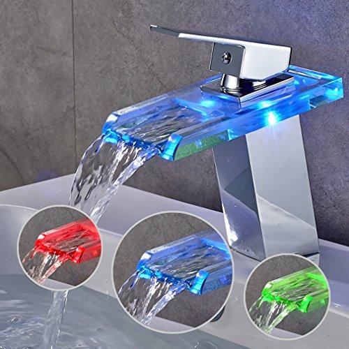 Auralum® Glas Chrom LED Wasserhahn Einhandmischer Waschtisch Wasserfall Armatur Bad Küche Typ B