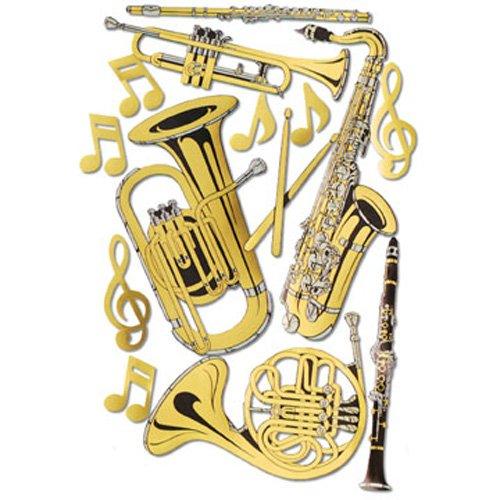 Gold Foil Musical Instrument Cutouts (15/Pkg) (Musical Foil)