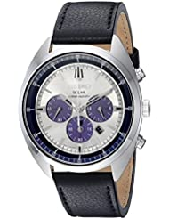 Seiko Mens RECRAFT Quartz Stainless Steel and Leather Casual Watch, Color:Black (Model: SSC569)