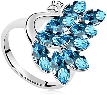 Austrian Crystal Olive Crystal Peacock Cocktail Ring White Gold Plated Women Girls Gift, Ocean Blue
