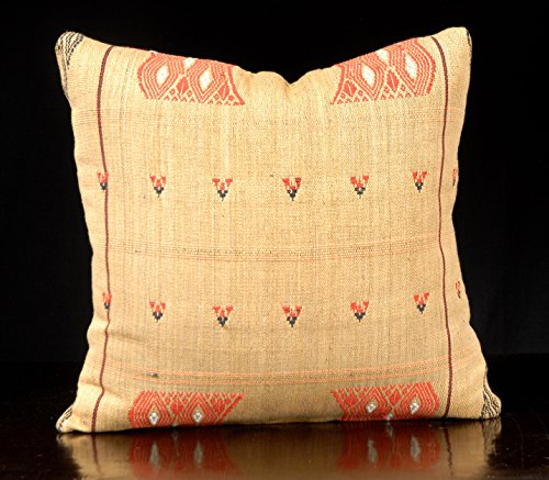 18 x 18 inch decorative throw pillow Naga tribal fabric blanket, ethnic hand woven cotton, gold tan red geometric design India fabric. SM9 (Textile Design Hmong)