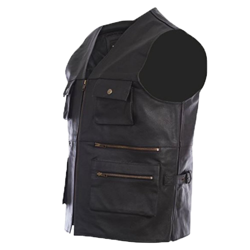 Texpeed Mens Quality Black Leather Waistcoat With Clip Fastening All Sizes