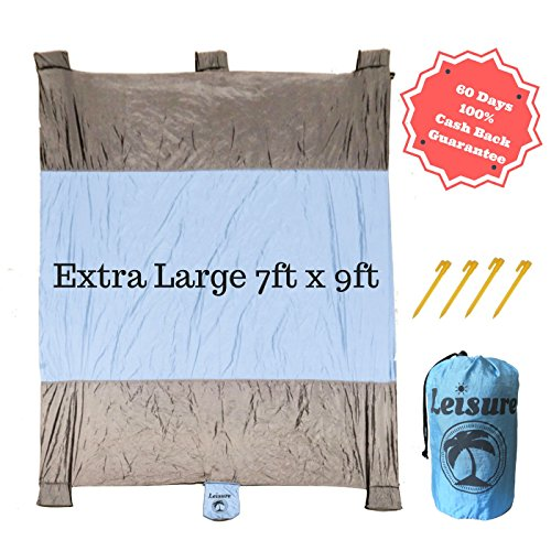 Fleece Nylon Blanket (LeisureSport 7 ft x 9 ft Picnic Blanket Sand Proof Lightweight Extra Large Soft Quick Drying and Durable Parachute Nylon come with 4 stakes Great for Family Outdoor Hiking Camping (Sky Blue/Gray))