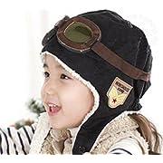 LIWEIKE Children Pilot Aviator Hat, Warm Baby Kid Winter Earflap Pilot Cap Aviator Hat Beanie Flight Helmet (Black)