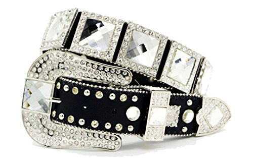 BELTSWEB 2001 Women's Crystal Square Concho Western Belt Size 36 Black Clear (Crystal Concho Belt)