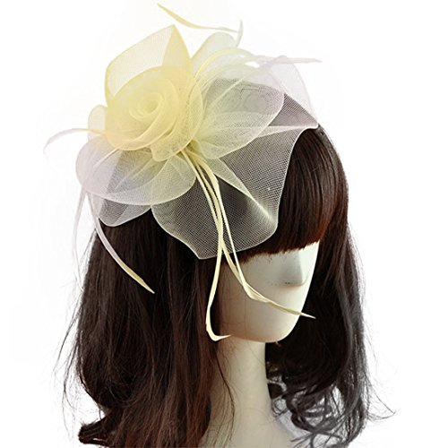 VGLOOK Womens Mesh Fascinator Hat with Headband (Beige) by VGLOOK
