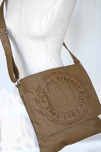 Tracolla A Tracolla Messenger In Similpelle Beige Effetto Vintage