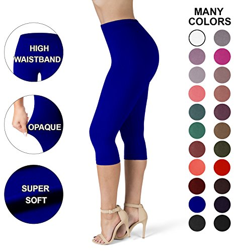 Royal Blue Womens Capris (Sejora SATINA High Waisted Ultra Soft Capris Leggings - 20 Colors - Reg & Plus Size (Plus Size, Royal Blue))