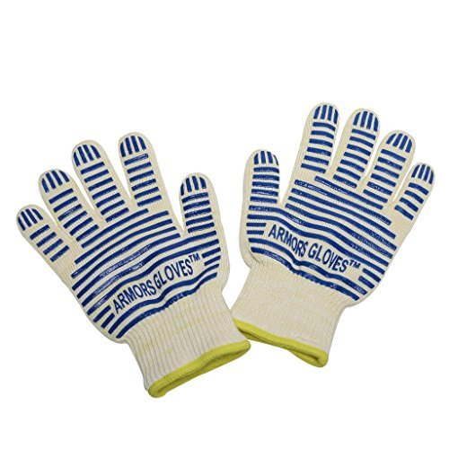 Armors Kevlar Heat Resistant Grill Gloves,1 Pair,Blue Stripe