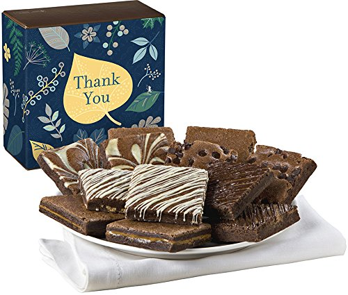 Fairytale Brownies Thank You Nut-Free Dozen Gourmet Food Gift Basket Chocolate Box - 3 Inch Square Full-Size Brownies - 12 Pieces