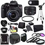 Canon EOS Rebel T6i DSLR Camera EF-S 18-135mm f/3.5-5.6 is STM Lens 0591C005 + EF 50mm Lens + 32GB SDHC Card + UV Filter + Case + Tripod + Saver Bundle For Sale
