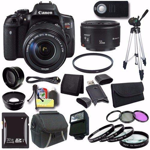 Canon EOS Rebel T6i DSLR Camera EF-S 18-135mm f/3.5-5.6 is STM Lens 0591C005 + EF 50mm Lens + 32GB SDHC Card + UV Filter + Case + Tripod + Saver Bundle For Sale