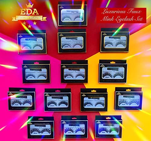 EDA LUXURY BEAUTY FLASH 3D Faux Mink False Lashes | Full Dramatic Volume | Extra Long Length | Eyelash Extensions | Fluffy Layered Spiky Lifting Effect | Vegan & Cruelty-Free | Fake Eyelashes