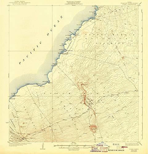 Hawaii Maps - 1928 Puako, HI USGS Historical Topographic Map - Cartography Wall Art - 44in x ()