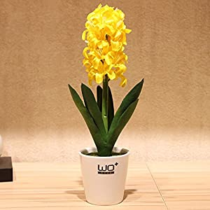 Situmi Artificial Fake Flowers Potted Plants Hyacinths Ceramic Vases Garden Decoration Yellow Home Accessories 65