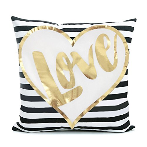 White Stripe Throw Pillow - Kingla Home Bronzing Flannel Home Pillowcases 18 x 18 inch Throw Pillow Cover Love Black Striped White Print Gold LOVE Stripes Pattern Pillow Cases