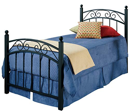 Bed Twin Willow - Hillsdale Furniture 224BTWR Willow Bed Set with Rails, Twin, Textured Black