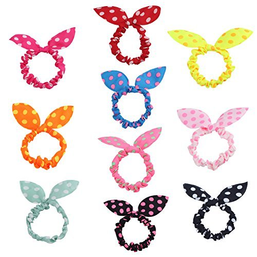 ReNext Cute Womens Dot Rabbit Ear Hair Bow Tie Bands Chiffon Ponytail Holder, Multicolor