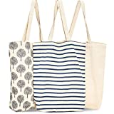 Juvale 3-Pack Reusable Cotton Grocery Shopping Tote Bags, 3 Designs, 15 x 16.5 x 3.5 Inches
