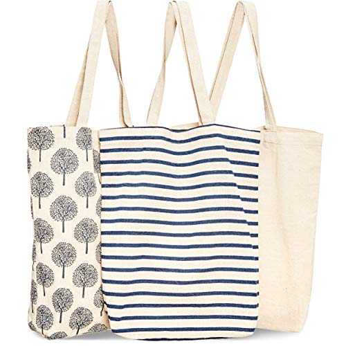 Juvale 3-Pack Reusable Cotton Grocery Shopping Tote Bags, 3 Designs, 15 x 16.5 x 3.5 Inches -