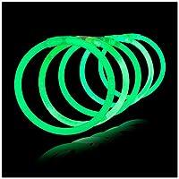 Lumistick Glow Sticks de 10 pulgadas - Glow Sticks con conectores de collar y pulsera - Glowstick Bundle Party Bracelets (100, Verde)