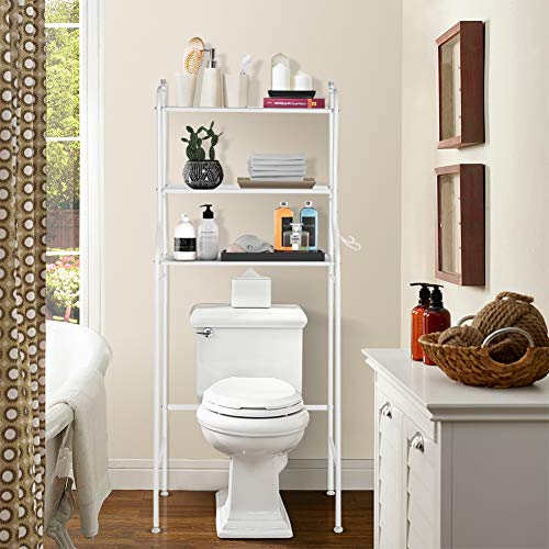 Bathroom Shelf Over Toilet 3 Tire Shelf Organizer Bathroom Space Saver 22.05 x 9.84 x 59.45inch White