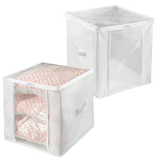 mDesign Juego de 2 bolsas para guardar ropa con cremallera – Guarda mantas cuadrado de polipropileno – Organizadores de armarios plegables para ...